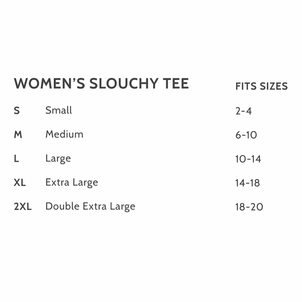 Slouchy tee size chart original