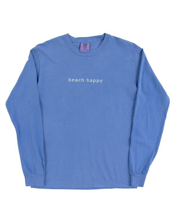 154117 simple beach happy comfort colors long  sleeve tee flo blue women slider 5 original