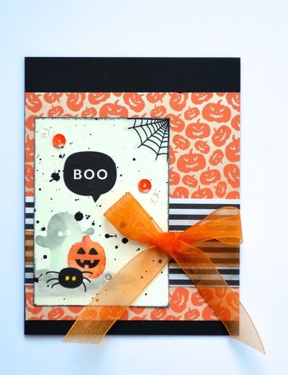 Boo bow halloween card original