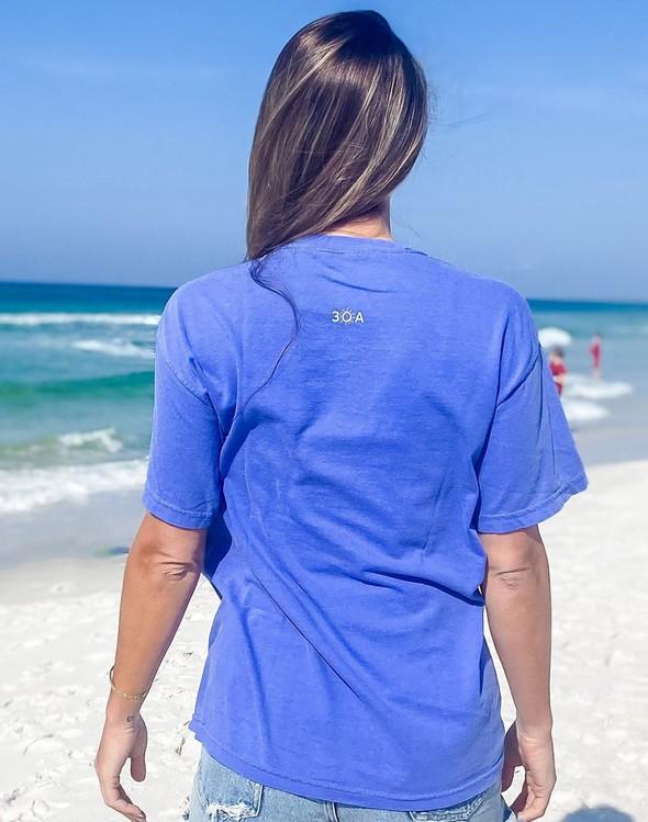 154111 simple beach happy comfort colors short  sleeve tee flo blue women slider 5 original