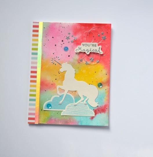 Magical unicorn distress ink card original
