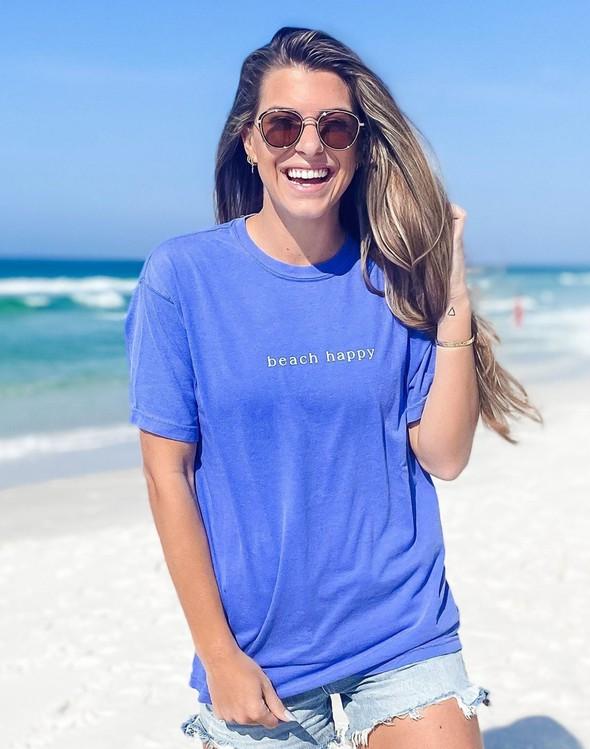 154111 simple beach happy comfort colors short  sleeve tee flo blue women slider 1 original