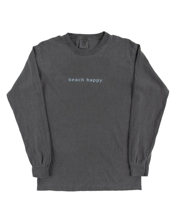 154099 simple beach happy comfort colors long sleeve tee pepper women slider 5 original