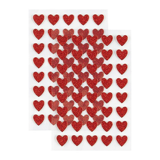 Picture of December Daily® 2021 Red Glitter Heart Cardstock Stickers