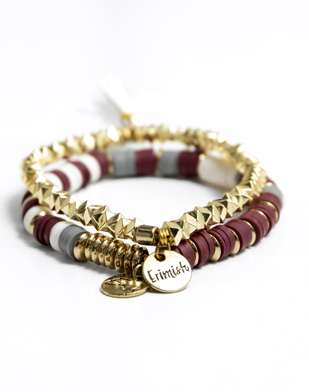 165070 maroonandgoldbraceletset