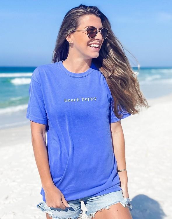 154111 simple beach happy comfort colors short  sleeve tee flo blue women slider 2 original
