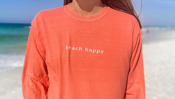154069 simple beach happy comfort colors long sleeve tee women bright salmon slider2 original