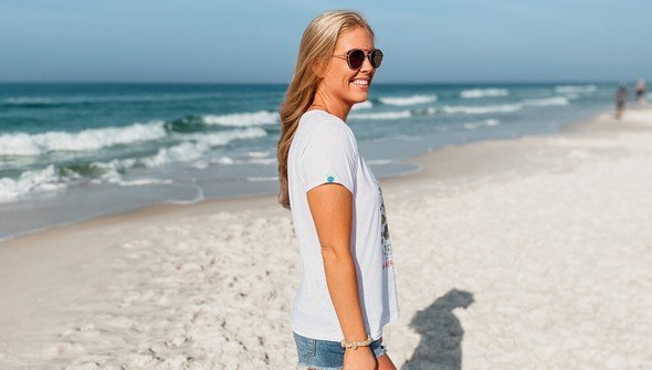 146482 beach happy under the sea v neck tee women white slider4 original