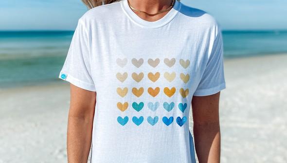 129162 heart grid short sleeve tee women white slider2 original