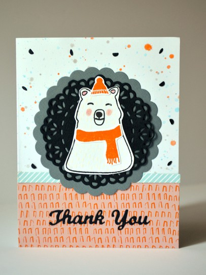 Confetti polar bear thank you card original