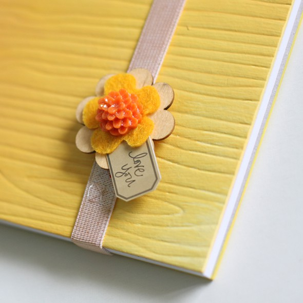 Yellow journal closeup.