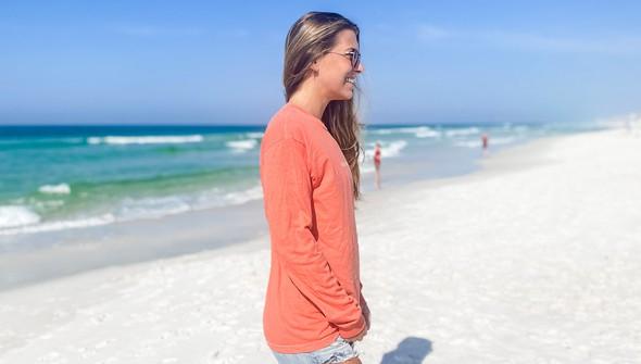 154069 simple beach happy comfort colors long sleeve tee women bright salmon slider3 original