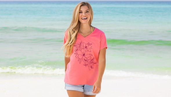 125591 30a floral v neck tee women melon slider1 original