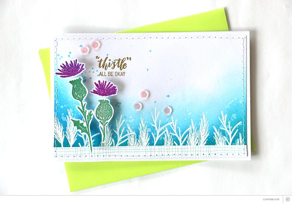 Thistle card by natalie elphinstone original