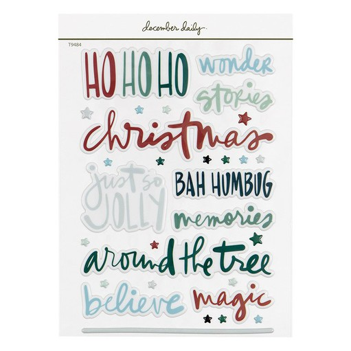 Picture of December Daily® 2021 6x8 Holiday Phrases Puffy Stickers