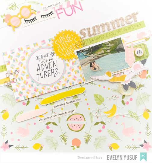 Summer fun full layout american craft happy place dear lizzy by evelynpy original