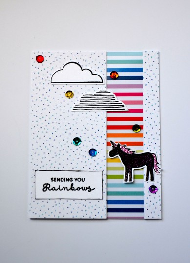 Sending rainbows unicorn card original