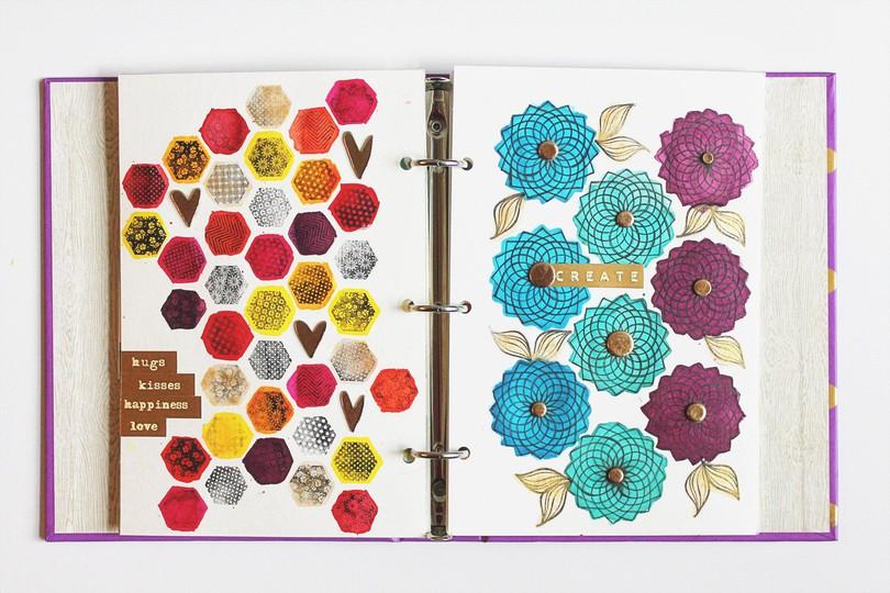 Art journal 13 full spread carson riutta pine and plum