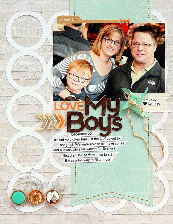 Love my boys layout by sarah webb