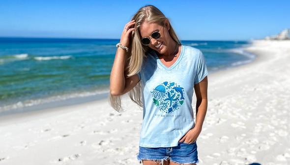 137678 keep our beach happy v neck tee women sky slider2 original