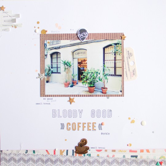 Coffeee scrapbooking layout scatteredconfetti gossamerblue papierprojekt 1 original