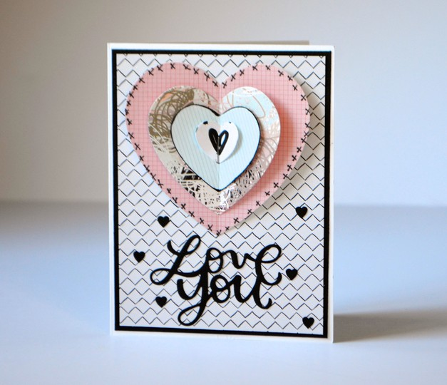 Love you layered heart card original