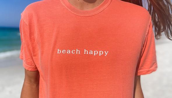 154063 simple beach happy comfort colors short sleeve tee women bright salmon slider2 original