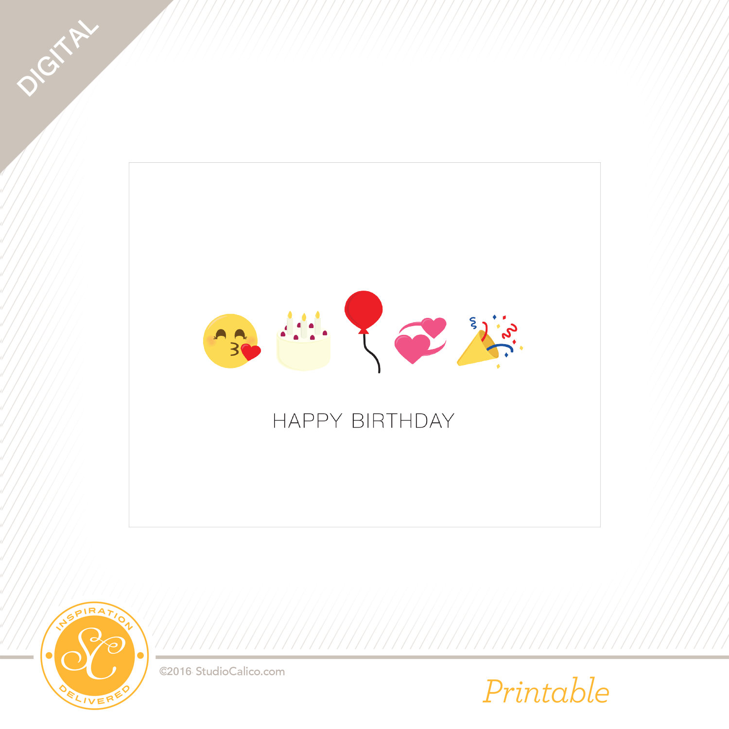 Story Board Printable Birthday Emoji Card