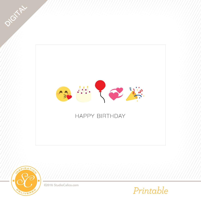 Story Board Printable Birthday Emoji Card