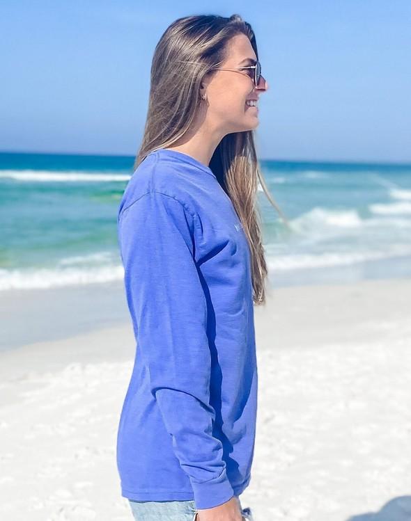 154117 simple beach happy comfort colors long  sleeve tee flo blue women slider 3 original