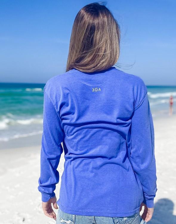 154117 simple beach happy comfort colors long  sleeve tee flo blue women slider 4 original