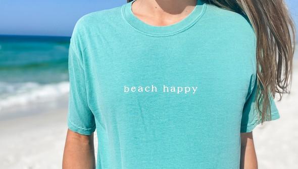 154075  simple beach happy comfort colors short sleeve tee women seafoam slider2 original