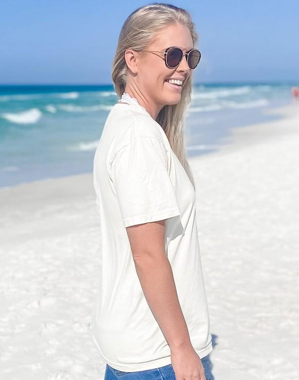 154051 simple beach happy comfort colors short sleeve tee ivory women slider 3 original