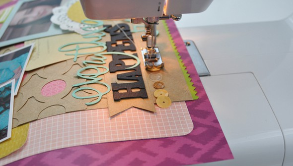 Machine stitch sequins to a pagecrop original