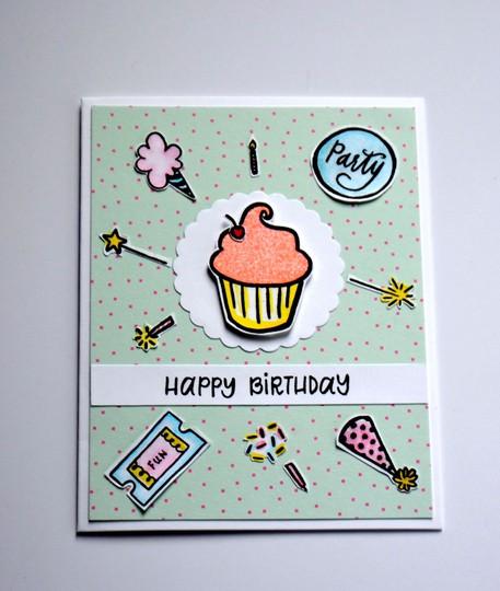 Happy birthday cupcake card original