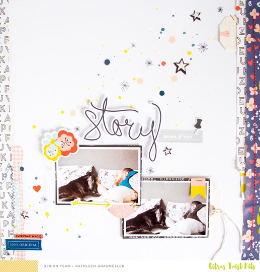 Story scatteredconfetti scrapbooking layout citrustwistkits december fancypants 1 original