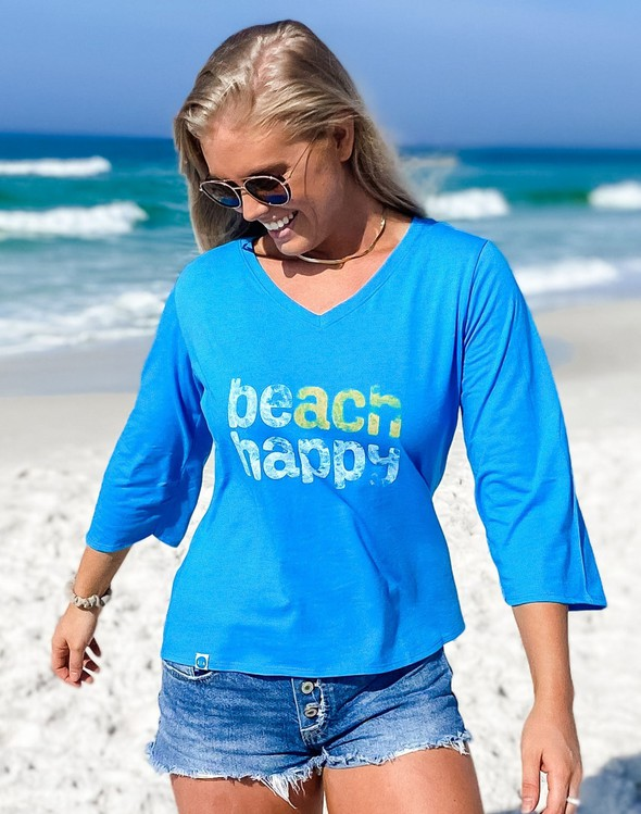 152487 beachhappyvneckbellsleeveteewomen30ablue slider3 original