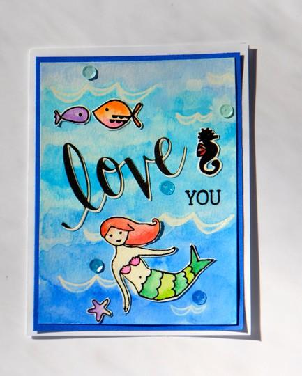 Love you mermaid card original