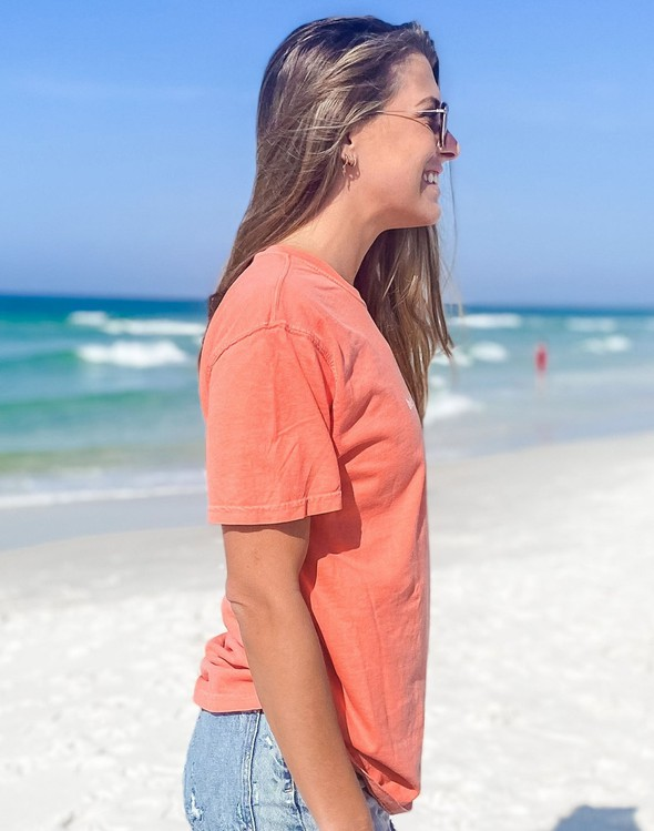 154063 simple beach happy comfort colors short sleeve tee bright salmon women slider 3 original