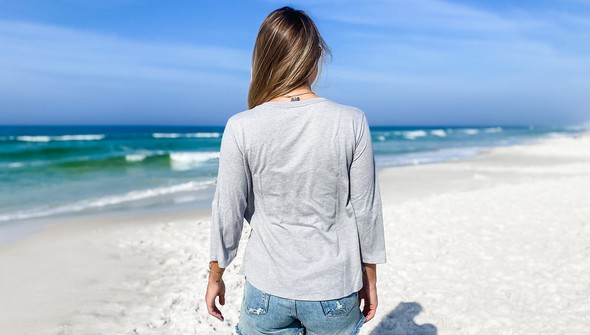 152443 simple beach happyv neck bell sleeve women ash slider4 original
