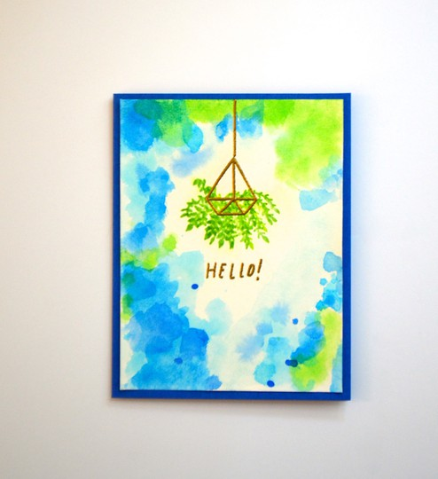 Hello hanging basket card original