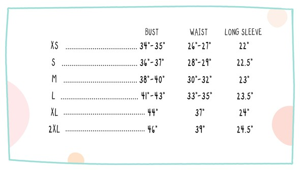 V neck short sleeve size chart original