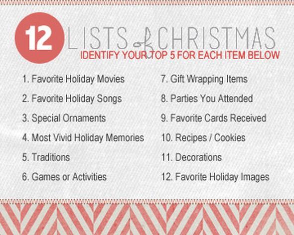 12 lists of christmas