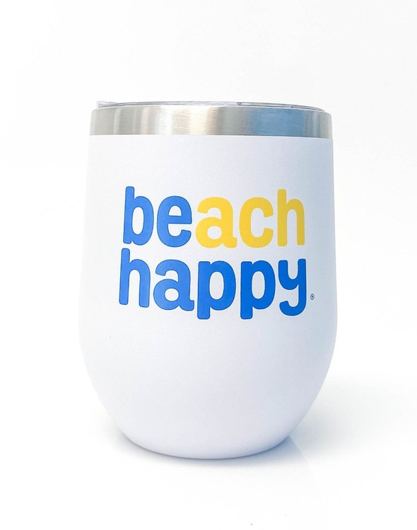 117158 beach happy stainless wine glass white slider 1 original