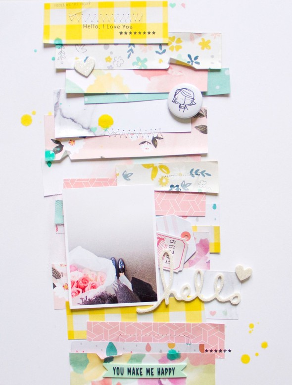 Hellohappy scatteredconfetti scrapbooking layout cratepaper americancrafts pinkfreshstudio heidiswapp 1 original