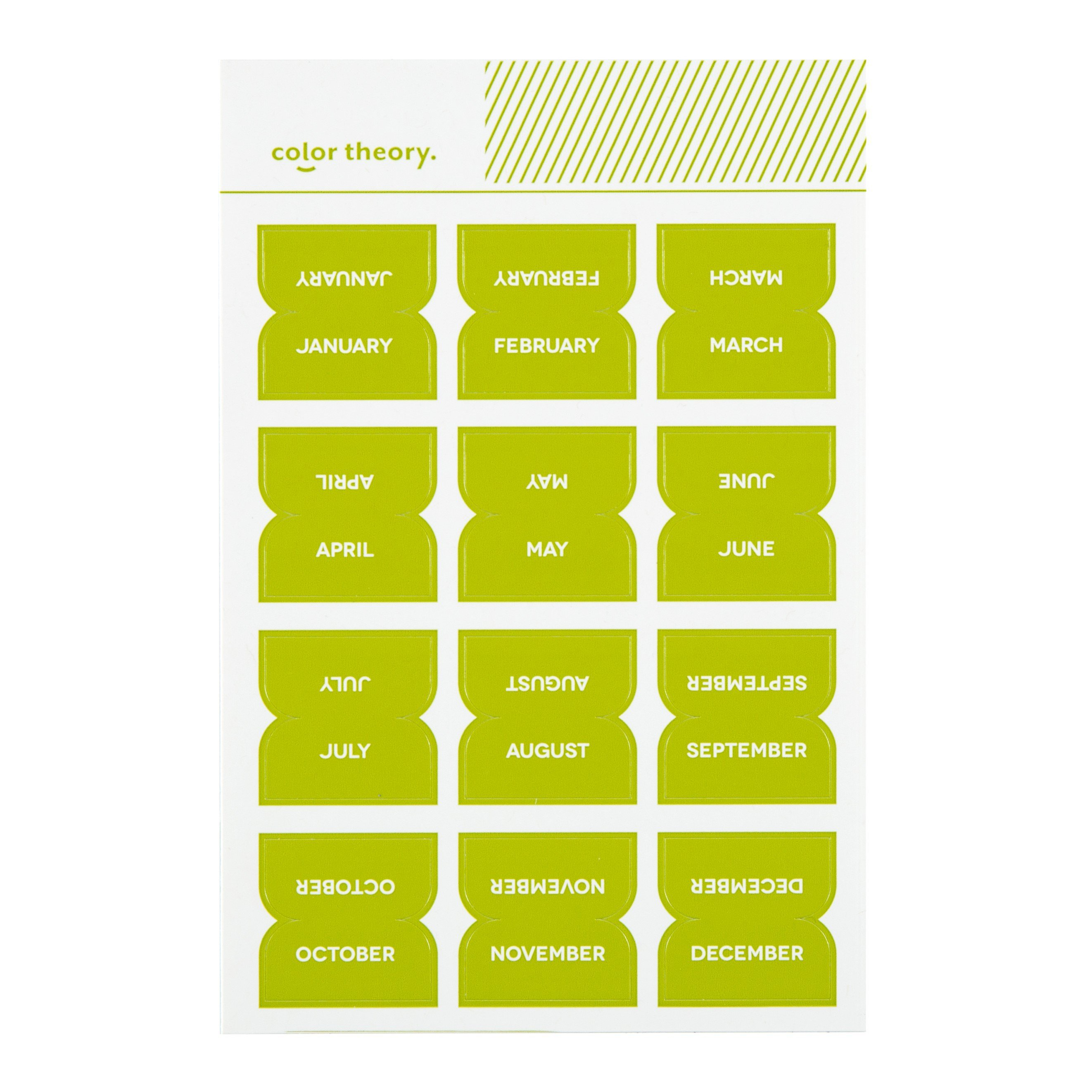color theory monthly tab stickers lime light studio calico