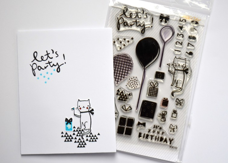 Lets party cat card and stamp original