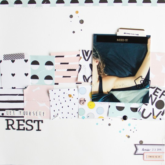 Rest scrapbooking layout scatteredconfetti sevenpaper goldie gossamerblue january 1 original