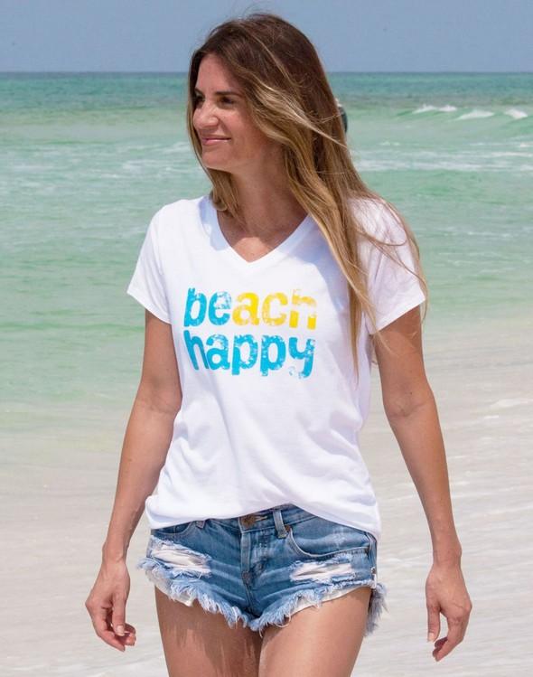 108494 beach happy short sleeve v neck white women slider 1 original