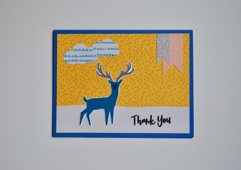 Blue deer thank you card original